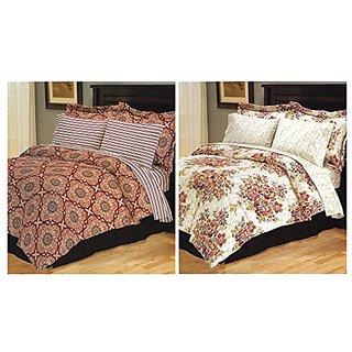 Barrington Reversible Comforter 8-Piece Bedding Set, King, Cranberry Red Floral Medallion Stripes