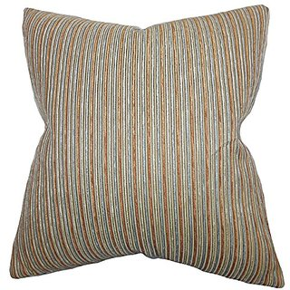 The Pillow Collection Elke Stripes Pillow, Brown