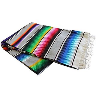 Del Mex (TM) X-large Mexican Serape Beach Blanket Light Gray