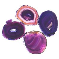 Airblasters Pink Color 3.5-4 Inch Natural Sliced Agate Coaster Set Of 4