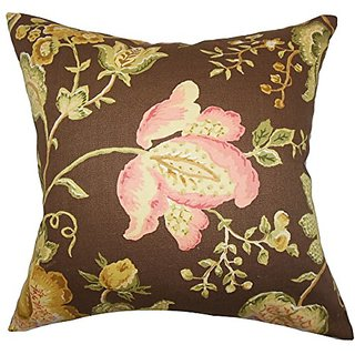 The Pillow Collection P20-MVT-1281-FLORAL_TOAST-C100 Kelila Floral Pillow, Brown, 20