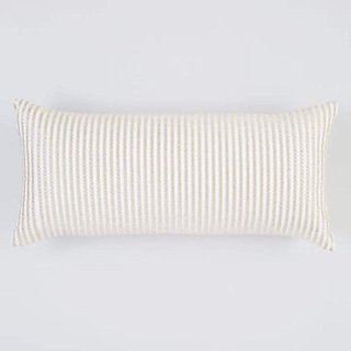 Hudson Park Gabrielle rope embroidered decorative pillow 10x22 in, Ivory