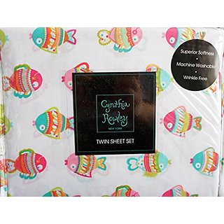 Cynthia Rowley 3 Piece Twin Size Girls Sheet Set Cute Girly Pastel Fish