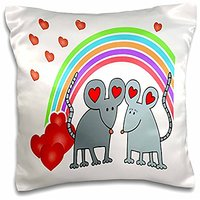 "3dRose Mice In Love With Rainbow And Hearts-Pillow Case, 16 By 16"" (pc_76722_1)"