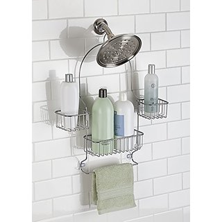 mDesign Swing Bathroom Shower Caddy for Shampoo, Conditioner, Soap - Silver