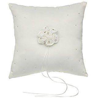 Venus Jewelry Rosette Flower Crystal studded Wedding Ring Bearer Pillow 7 Inch x 7 Inch - Ivory RP004I