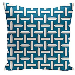 E By Design CPG-N47-Peacock-16 Geometric Cotton Decorative Pillow, 16-Inch, Peacock