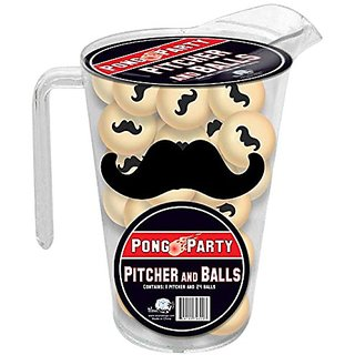 Mustache Pitcher and Balls Pong Set