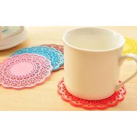 BFlowerYan 6x Sweet Flower Translucent Lace Coasters Silicone Pad - Colors May Vary (Translucent Lace)