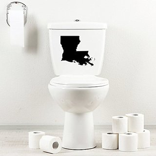 StickAny Bathroom Decal Series Louisiana LA Sticker for Toilet Bowl, Bath, Seat (Black)
