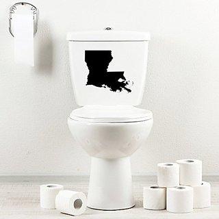 StickAny Bathroom Decal Series Louisiana LA Sticker for Toilet Bowl, Bath, Seat (Black)
