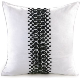 Nanette Lepore Villa Peacock Rhinestone Decorative Pillow, 16 by 16-Inch, White/Black