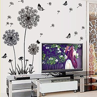 Amaonm Removable Diy Black Dandelion Butterfly Wall Stickers PVC Home Art Decoration Mural Wall Decal for Bedroom Sittin