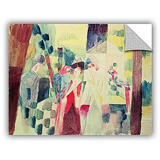 Franz Marcs Two Women and A Man with Parrots, Removable Wall Art Mural 14x18