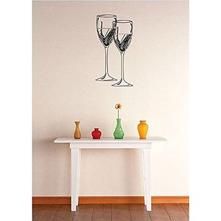 Design with Vinyl 3 Zzz 695 Decor Item Two Wine Glasses Image Quote Wall Decal Sticker, 20 x 40-Inch, Black