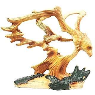 Rustic Faux Wood Wildlife Grand Bald Eagle Wings Of Glory Figurine Sculpture
