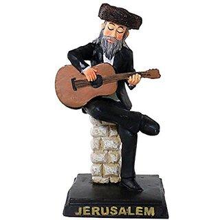 Jewish Hassidic Figurine Jerusalem Souvenir Guitar Musician Pol 11 Cm X 7 Cm