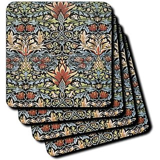3dRose cst_186319_2 Print of Vintage Blue Yellow Green Pattern-Soft Coasters, Set of 8