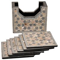 CraftsOfEgypt Set Of 6 Coasters HANDMADE Egyptian Mother Of Pearl & Paua Shell Inlaid And A Holder.
