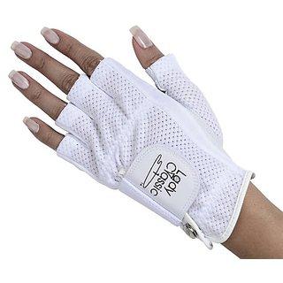 Lady Classic Cabretta 1/2 Finger Golf Glove White Medium LH