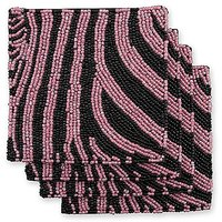 Epic Products Pink And Black Zebra Beaded Coasters (Set Of 4), Multicolor