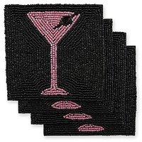 Epic Products Pink And Black Martini Beaded Coasters (Set Of 4), Multicolor
