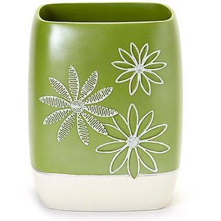 Popular Bath Daisy Stitch Waste Basket, Lime