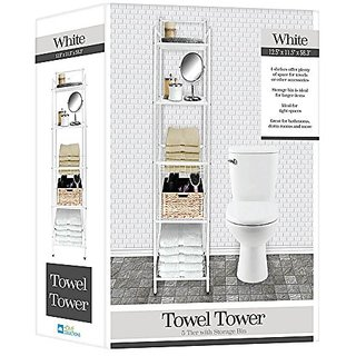 Deluxe Spa Tower 5 Tier Towel & Bathroom Accessory Rack White