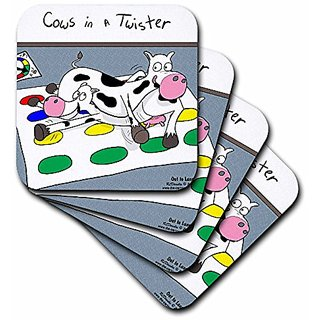 3dRose cst_4514_2 Cows in A Twister Soft Coasters, (Set of 8)