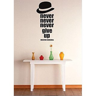 Design with Vinyl 3 Zzz 632 Decor Item Never Give up Inspirational Life Winston Churchill Quote Wall Decal Sticker, 16 x