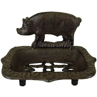 Pig Motif Cast Iron Antique Look Soap Dish