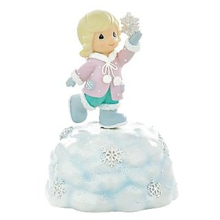 Precious Moments Resin Rotating Musical Figurine, Girl Holding Snowflake