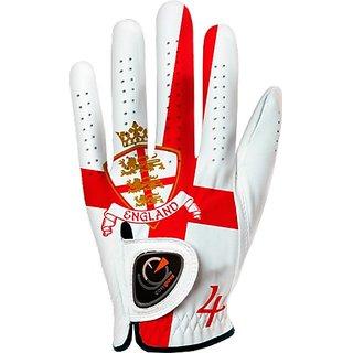 easyglove FLAG_ENGLAND Mens Golf Glove (White), Medium, Worn on Left Hand