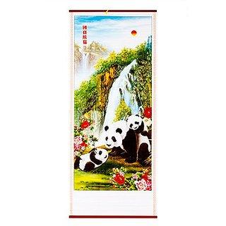 32х77 см Chinese Painting - Feng Shui Pandas Paper Hanging Scroll 11938