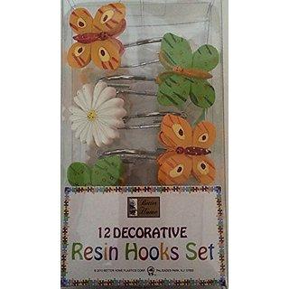 Butterflies & Flower Design - 12 Decorative Resin Shower Curtain Hook Set