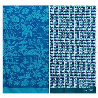 Nautica One Fish Two Fish and Palm Scene Beach Towel Set
