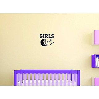 Design with Vinyl Moti 1422 2 Girls with Moon Teen Bedroom Quote Sign Peel & Stick Wall Sticker Decal, 16