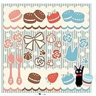 kikis delivery service mini towel Macaron and Jiji Blue 23x23cm from Japan