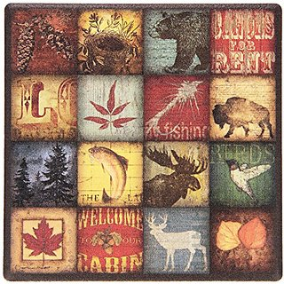 Thirstystone Lodge 16 Patch Stoneware Coaster, Multicolor