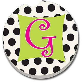 CounterArt Absorbent Stoneware Car Coaster, Monogrammed