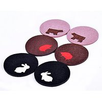 Dulce Cocina Easter Bunny/Rabbit - Detachable Felt Coasters Set Of 6 Cute Animal Design Home Furnishings Drinks Absorben
