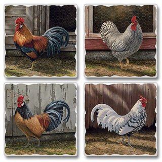 Barnyard Roosters - Square Tumbled Stone Coasters