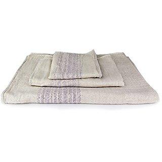 Kontex Organic Cotton Towels From Imabari, Japan - Bath Towel, Hand Towel & Washcloth, Beige/Lavender (Guest Towel)
