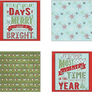 CoasterStone AS10086 Holiday Talk Absorbent Coasters, 4-1/4-Inch, Set of 4