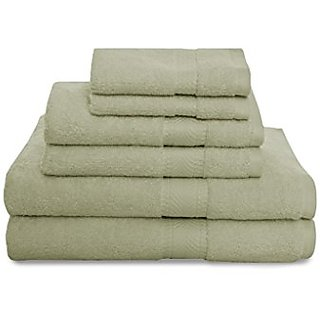 Revere Mills Montgomery Airelite 6 Piece 100% Cotton Super Soft Towel Set, Green Shadow