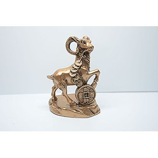 Chinese Feng Shui Feng Shui Auspicious RAM / Sheep / Goats Standing on Treasure for Wealth Luck