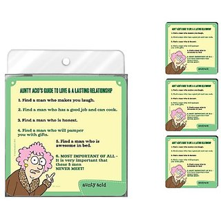 Tree-Free Greetings NC37826 Aunty Acid 4-Pack Artful Coaster Set, Guide to Love