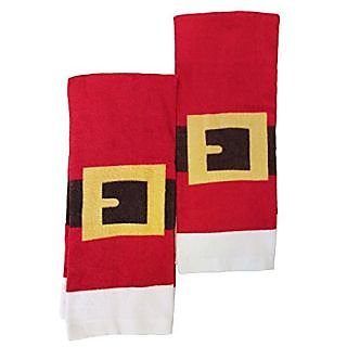 Christmas Santa Suit Kitchen or Bathroom Hand Towel,2 Pack Red
