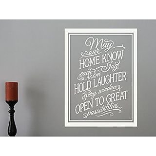 Wall Decor Plus More WDPM3177 ome Know Joy, Laughter, Possibilities Wall Decal Family Quote, 23 by 17-Inch, White