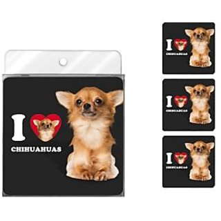 Tree-Free Greetings NC39030 I Heart Chihuahuas 4-Pack Artful Coaster Set, Tan